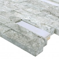 Mosaic Tiles Deepstone Natural Stone Stainless Steel Grey 3D