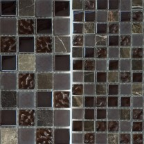 Mosaic Tiles Glass Marble Mix Sintra Brown 23x23x8mm