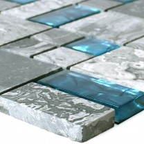 Glass Mosaic Natural Stone Tiles Sinop Grey Blue 2 Mix