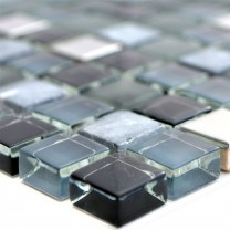 Glass Natural Stone Steel Mosaic Tiles Romeo Black