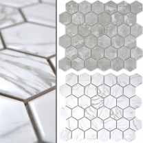 Ceramic Mosaic Mozart Hexagon Marbled Glossy