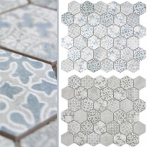 Ceramic Mosaic Retro Tiles Lawinia Hexagon