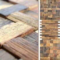 Wood Mosaic Tiles Bredon 3D Brown