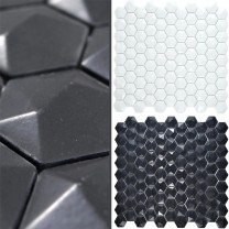 Glass Mosaic Tiles Benevento Hexagon 3D