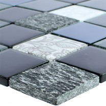 Glass Natural Stone Mosaic Triopetra Black Grey White