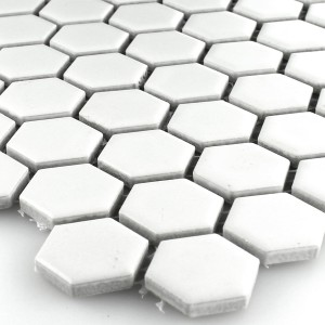 SAMPLE Mosaic Tiles Ceramic Hexagon White Mat 23x23x4mm