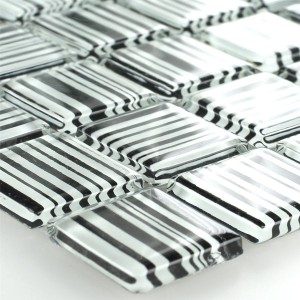 Striped Crystal Mosaic Tiles Glass Zebra