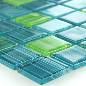 Striped Crystal Mosaic Tiles Glass Green Mix