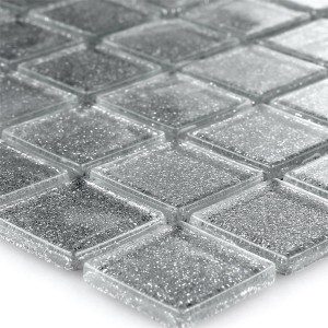 Mosaic Tiles Glass Silver Glitter 25x25x4mm