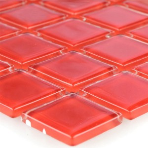 Crystal Mosaic Tiles Glass Red Uni 25x25x4mm