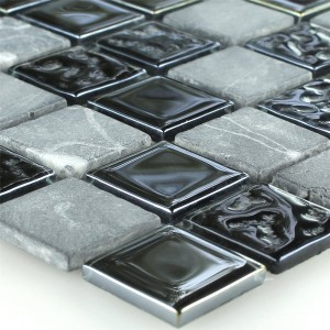 Mosaic Tiles Glass Marble Black Grey