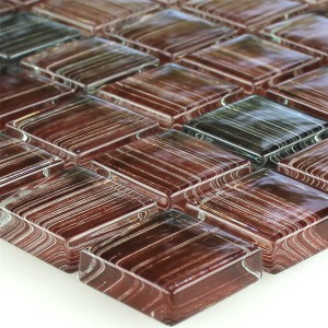 Striped Crystal Mosaic Tiles Glass Brown Mix
