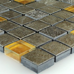 Mosaic Tiles Glass Natural Stone Grey Orange