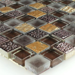 Mosaic Tiles Glass Natural Stone Gold Brown