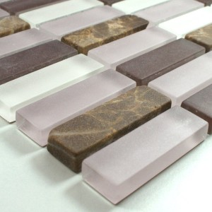 Mosaic Tiles Glass Marble 15x48x8mm Purple Mix
