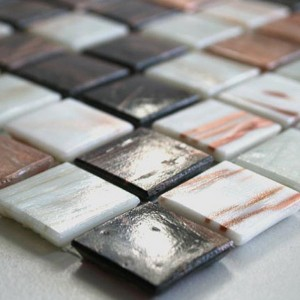 Mosaic Tiles Glass 20x20x4mm Brown Mix Metalic