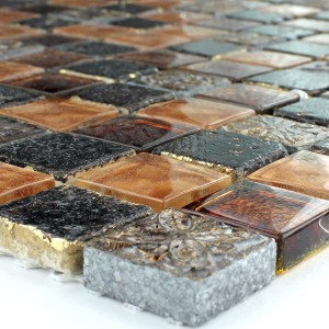Mosaic Tiles Glass Limestone Marble 23x23x8mm Gold Brown