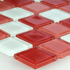 Mosaic Tiles Glass Kozarica White Red Mix 25x25x4mm