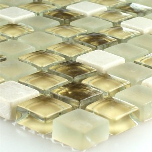Mosaic Tiles Glass Natural Stone White Gold Mix