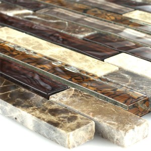 Mosaic Tiles Glass Marble Brown Beige