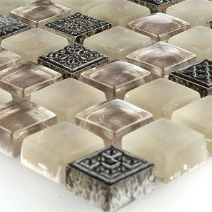 Mosaic Tiles Glass Natural Stone Ornament Beige Mix