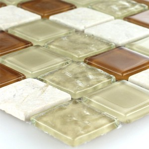 Mosaic Tiles Glass Marble Beige 25x25x4mm