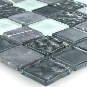 Glass Marble Crystal Mosaic Grey 25x25x4mm