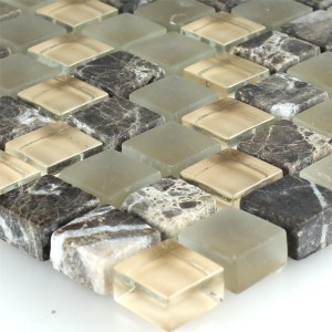 Mosaic Tiles Glass Marble 15x15x8mm Brown Beige Mix
