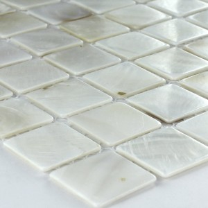 SAMPLE Mosaic Tiles Glass Nacre Effect 25x25x2mm White