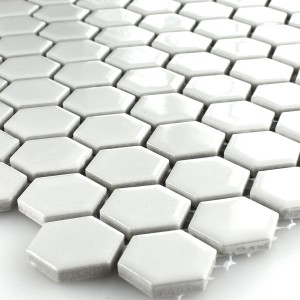 Mosaic Tiles Ceramic Hexagon White Glossy H23