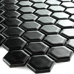 SAMPLE Mosaic Tiles Ceramic Hexagon Black Mat 23x23x4mm