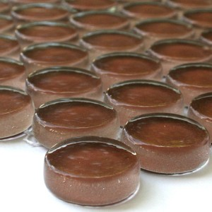 Mosaic Tiles Glass Button Round Brown Uni