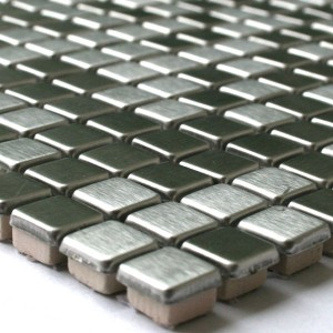 Mosaic Tiles Stainless Steel Metal Silver Brushed 10x10x6mm
