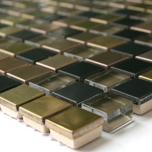 Mosaic Tiles Glass Metal Black Gold Bronze