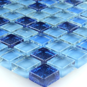 Mosaic Tiles Glass Blue Glitter 15x15x8mm