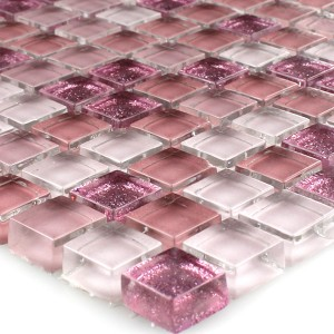 Mosaic Tiles Glass Pink Glitter 15x15x8mm