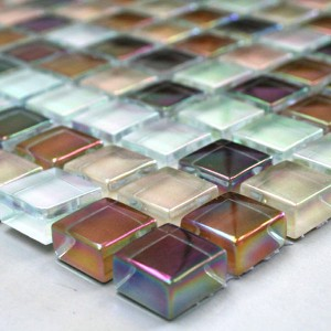 Mosaic Tiles Glass Nacre Effect 15x15x8mm Brown Mix