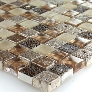 Mosaic Tiles Glass Natural Stone Brown Beige Mix