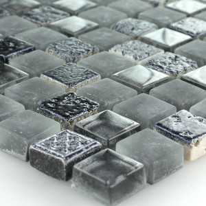 Mosaic Tiles Glass Natural Stone Grey Black Mix Sino