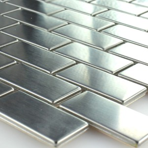 Mosaic Tiles Stainless Steel Metal Silver 23x48x5mm