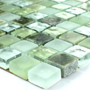 Mosaic Tiles Glass Marble 15x15x8mm Green Mix