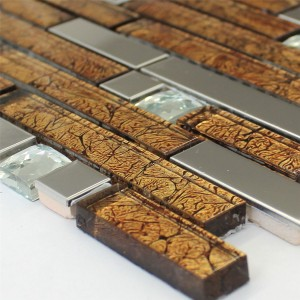Mosaic Tiles Glass Stainless Steel Metal Diamond Brown