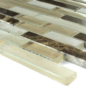 Mosaic Tiles Glass Marble Quebeck Brown Mix