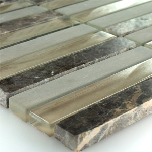 Mosaic Tiles Glass Marble Quebeck Brown 15x98x8mm