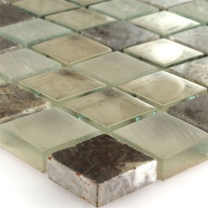Mosaic Tiles Glass Marble Quebeck Brown 23x23x8mm