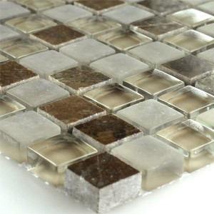Mosaic Tiles Glass Marble Quebeck Brown 15x15x8mm