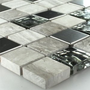 SAMPLE Mosaic Tiles Glass Stainless Steel Grey 23x23x8mm