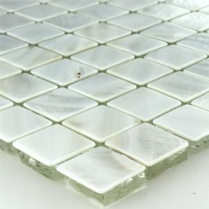 Mosaic Tiles Glass Nacre Effect Ivory White 23x23x8mm
