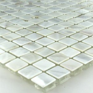 Mosaic Tiles Glass Nacre Effect Ivory White 15x15x8mm