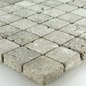 SAMPLE Mosaic Tiles Travertine Noce Drummed 26x26x10mm